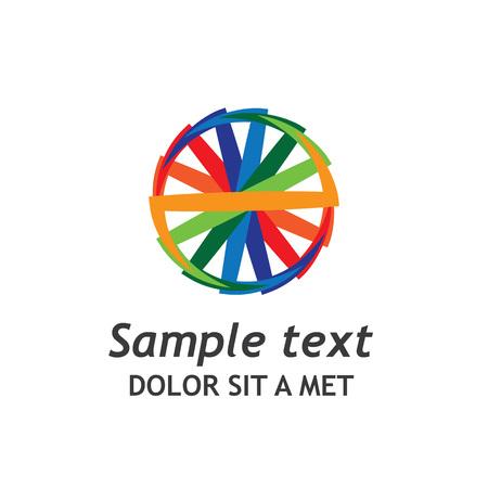 describing: A graphic logo of a colourful wheel describing a multinational outgoing business company. Illustration