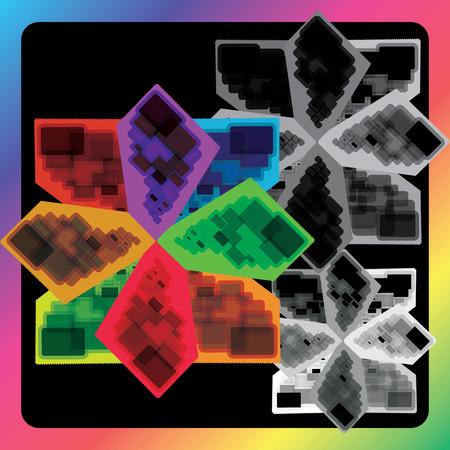 poise: Un fondo de pantalla de tres flores geom�tricas. Dar una combinaci�n de colores y blanco y negro a todo el fondo.
