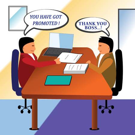 hardwork: Getting promotion letter from the manager at the office.Happy employee.Proud manager. Illustration