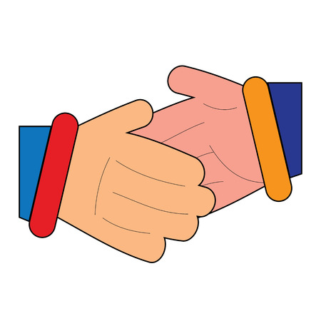 equal opportunity: Cartoon handshake clipart between two business men,relatives,boys,friends.A new beginning.