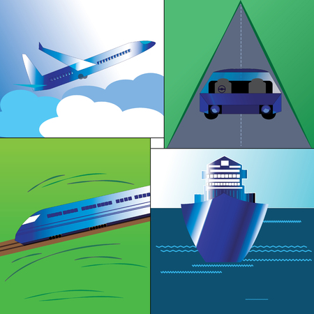 roadway: Illustration of Major mode of transport in the world.Airways,Rail,four wheeler in a Roadway and sailing Ship.