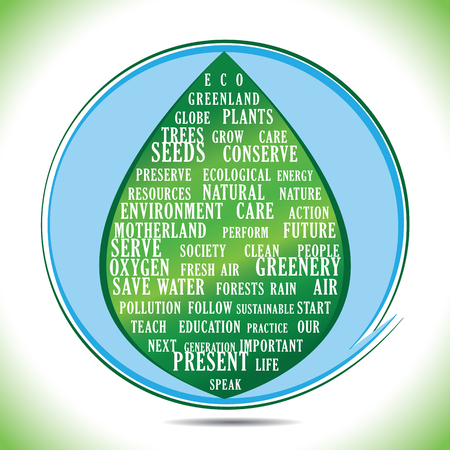 importance: Ecological keywords to describe the importance of conserving our environment. Illustration