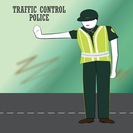 Traffic police in action on road. Vector Illustration