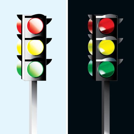 clipart street light: Standard traffic lights - Day and night different illustration Illustration