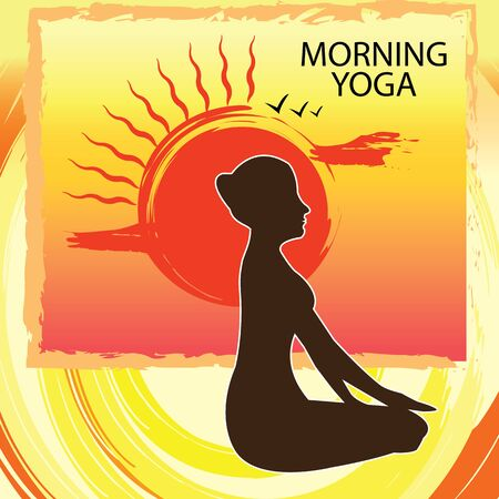 fittest: Morning yoga is a good excercise - Woman practicing at sunrise- poster