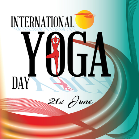 fittest: International yoga day- Colorful abstract banner Illustration