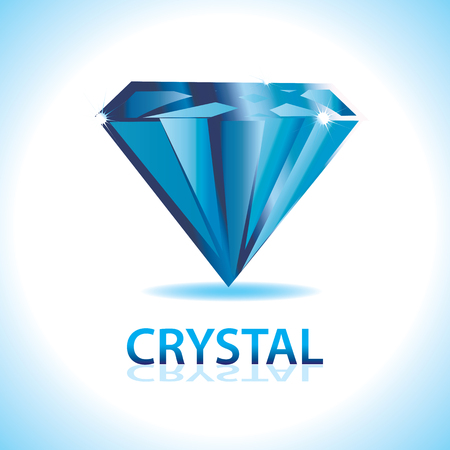 valuable: A blue crystal shiny icon.Precious and valuable. Illustration