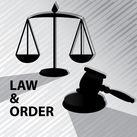arbitration: Law and order -Grayscale,clipart with gavel and weigh scale