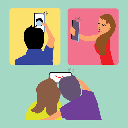pout: Capturing selfie in cellphone shown in three different situations.