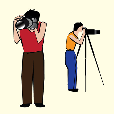 capturing: Action of Two men capturing pictures in their respective cameras Illustration