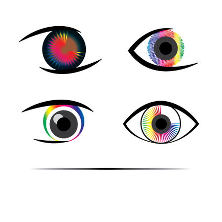 pleasant: colorful, spectrum, vibrant, four, eyes, trendy, pleasant, creative, see, parts, human body, set, symbol, collection, graphic, human, abstract, vision, different, optic, design, simple, optical, look, business, close-up, colors, art, pixel art, eye logo,  Illustration