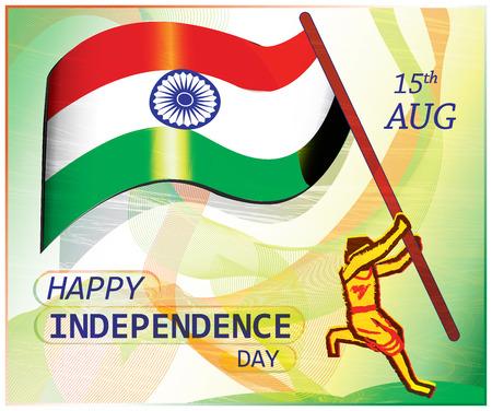 hoisting: Poster on Indian independence day.A patriot jumps to hoist the flag. Colorful artistic presentation of patriotism.