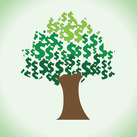 contended: A big rich tree of large quantity dollars in it. Clipart of sacred money tree.