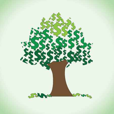 quantity: A big rich tree of large quantity dollars in it. Clipart of sacred money tree.