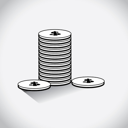 arranged: Dollars in the form of coins arranged symmetrically with the dollar symbol on it.