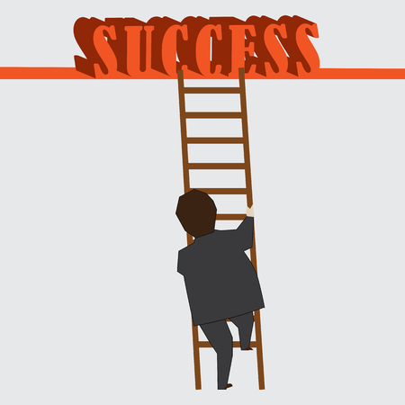 path to success: An illustration of a businessman on his path to success
