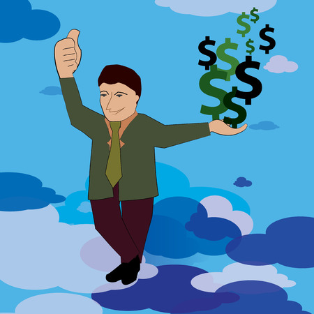 settled: A happy businessman posing with great earnings and wealth. Illustration