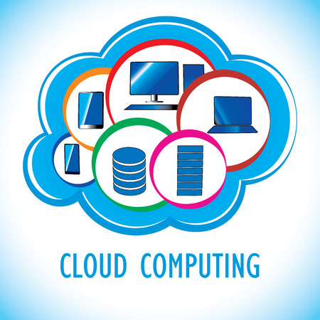 virtualization: A trendy cloud computing concept showing related hardware involved in the technology.