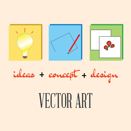 derived: art is derived from three steps- ideas,concept and design.