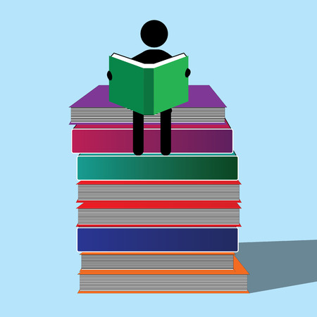 A character engrossed in studying sitting on the books piled up. Ilustração