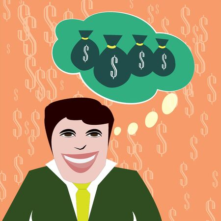 Businessman excited about his future dreaming big of money Illustration