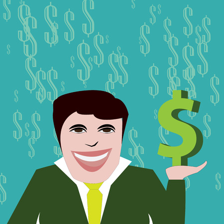 conquering: A rich businessman with a big dollar smiling at his success in conquering wealth.