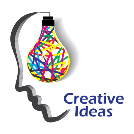Light bulb illustrated as a glowing idea in human mind. 矢量图片