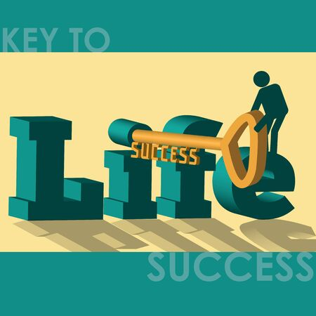 unlocking: An effort in life is key to success. A man unlocking he key leading to success.