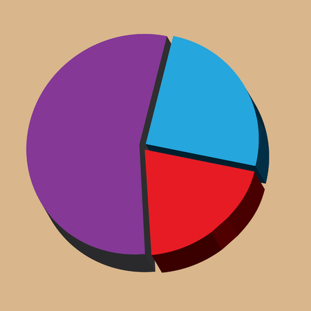 gradual: Pie chart infographics isolated with three sections.