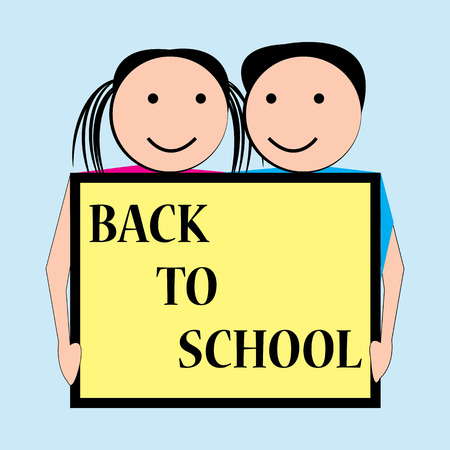 commencing: Children happy expressions with back to school board Illustration