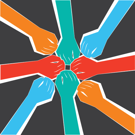 A circle of People united for a purpose.Hands joined for a collaboration.