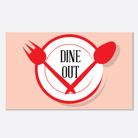 A clean and trendy combination of crockery items -Dining out vector graphic.  イラスト・ベクター素材