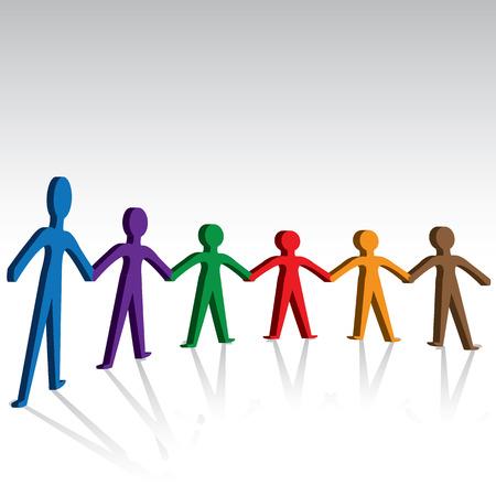 Hermandad y unidad personas-colorido que llevan a cabo las manos juntas