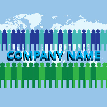 Editable Advertising banner with company name and its people around the world
