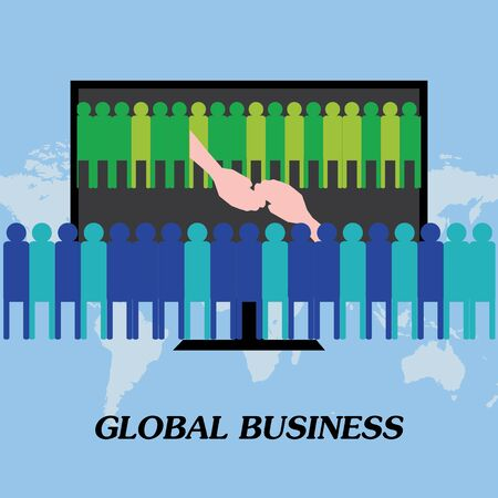multinational: Two companies meeting for global business-agreement with handshake illustration