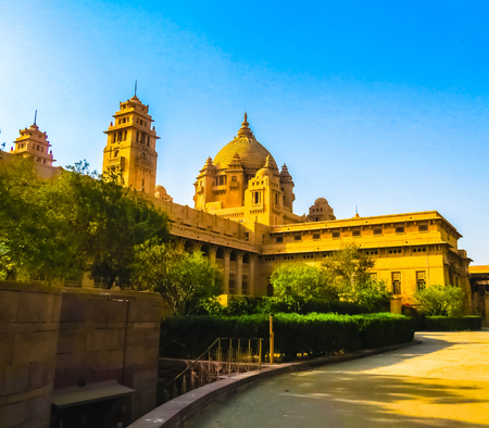 Outdoor side view of the Umaid Bhawan Palace,Jodhpur,Rajasthan,India