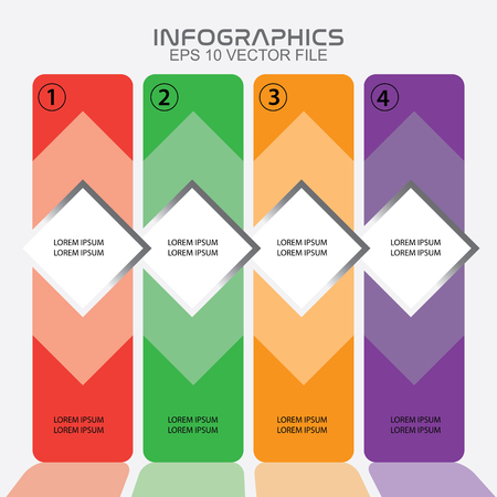 Infographics template with four column process,modern and trendy