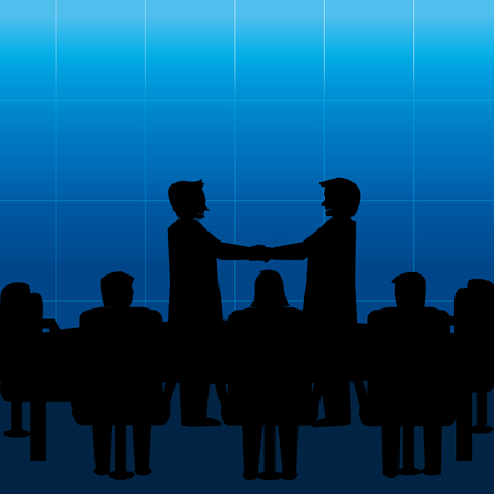 Business team meet handshaking in conference room illustration