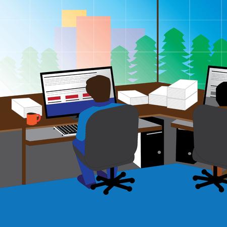 Office, Workplace, Modern, Interior, Illustration, Room, Table ...