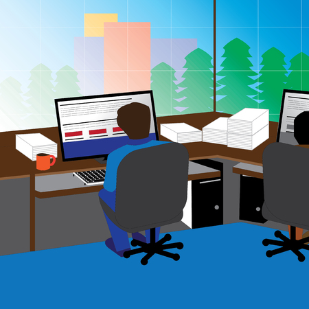 office, workplace, modern, interior, illustration, room, table, vector, work, business, desk, flat, indoor, design, computer, inside, technology, furniture, job, desktop, window, monitor, chair, corporate, workspace, cabinet, company, equipment, place, bu