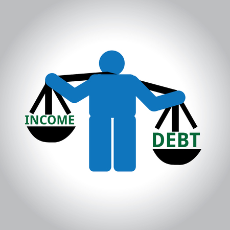 Man with weighing scale where in debt exceeds income Illustration