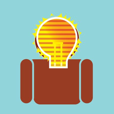 visualizing: Man with a bright illuminated idea in his brain