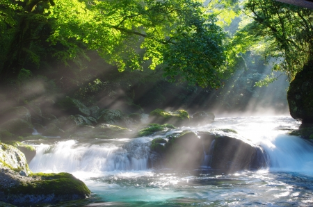 Mountain stream and shaft beam of light