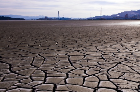 chink: The dry earth and factory Stock Photo