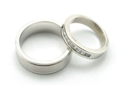 His hers wedding rings Stock Photo