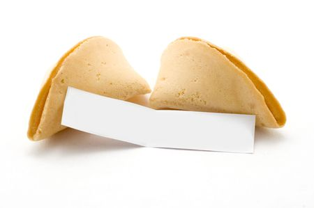 biscuit: Open fortune cookie with blank message white background Stock Photo