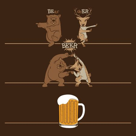 Bear and deer transform into a beer Иллюстрация