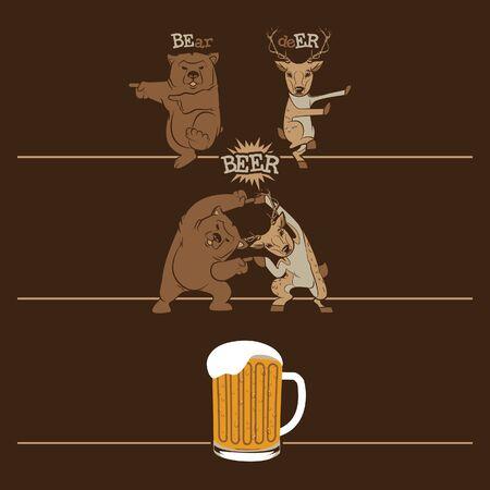 oso caricatura: Oso y ciervos se transforman en una cerveza