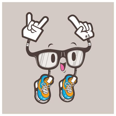 nerd glasses: Nerd glasses character vector illustrationjump