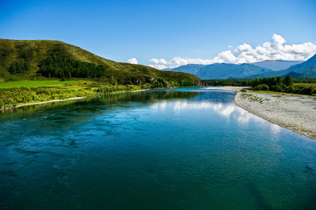 breadth: Panoramic view of the wide blue mountain river Stock Photo